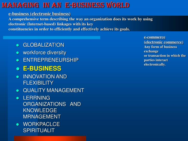 e-business (electronic business)