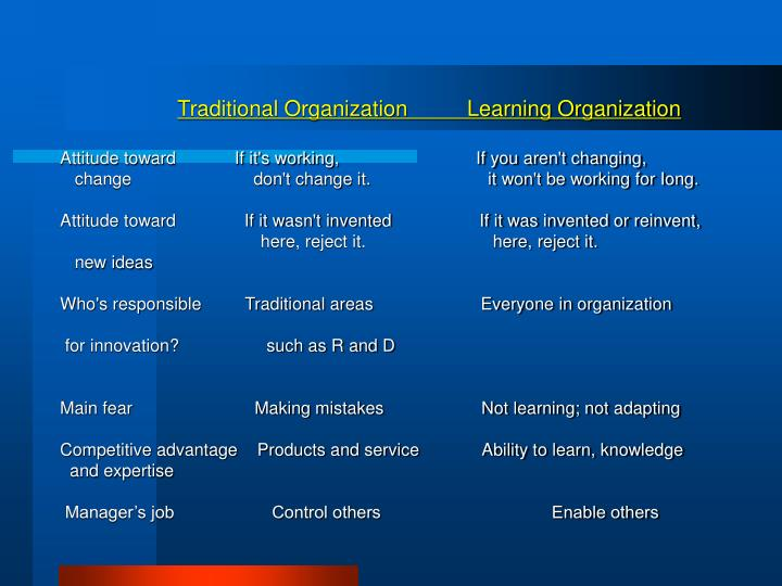Traditional Organization          Learning Organization