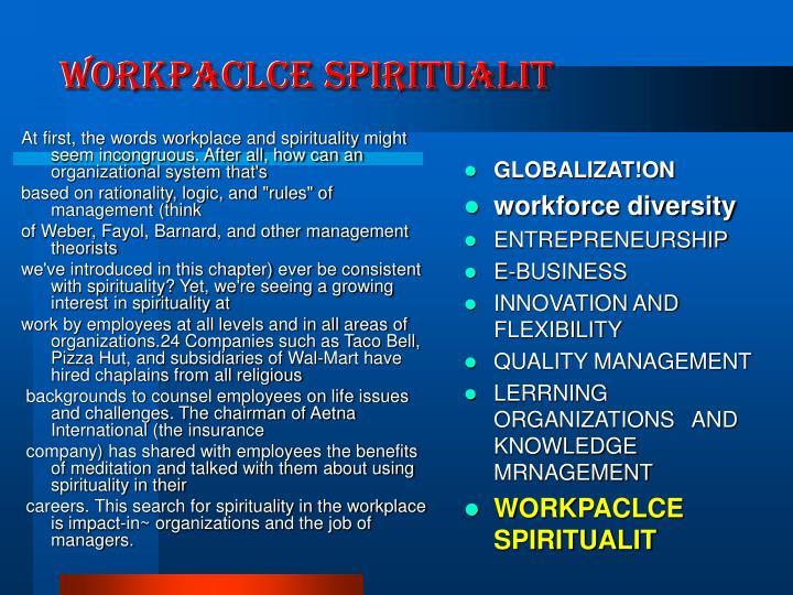 WORKPACLCE SPIRITUALIT