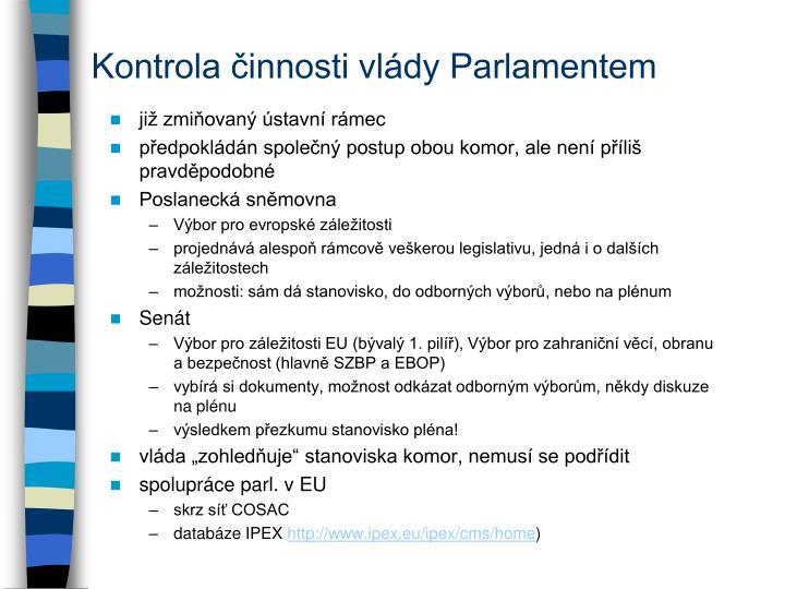 Kontrola činnosti vlády Parlamentem