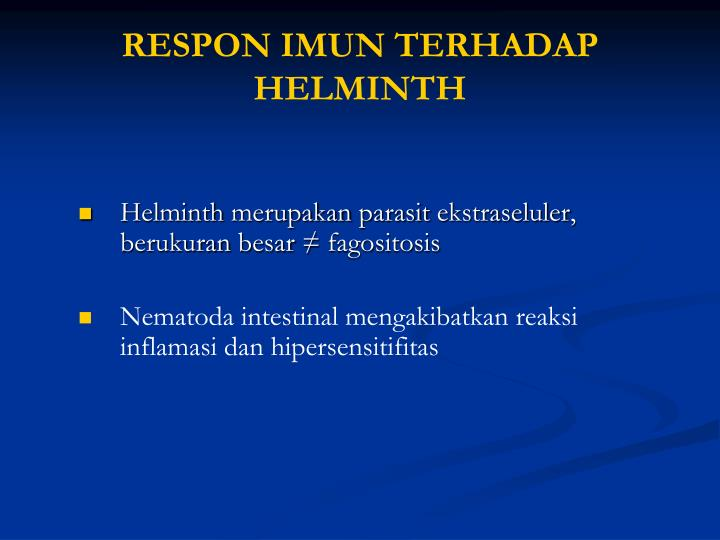 RESPON IMUN TERHADAP HELMINTH