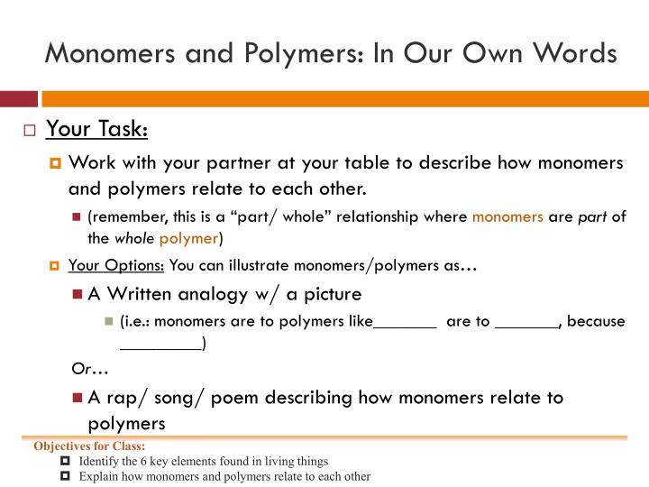 monomers and polymers relationship