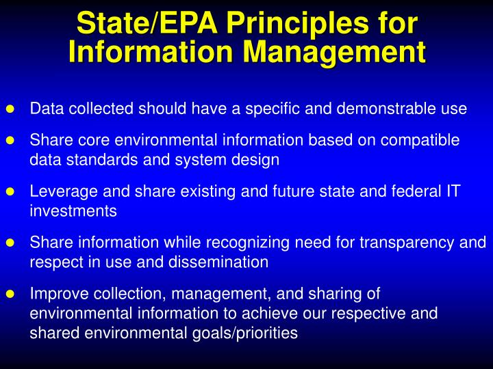 State/EPA Principles for Information Management