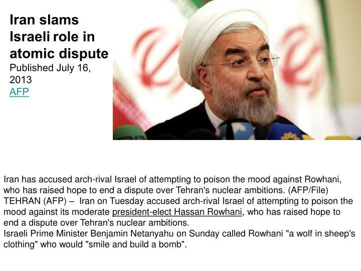 Iran slams Israeli