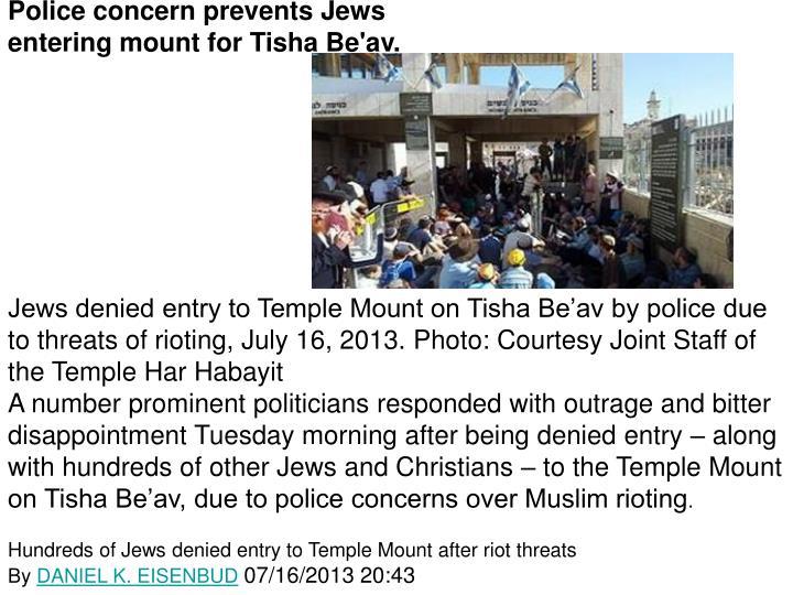 Police concern prevents Jews
