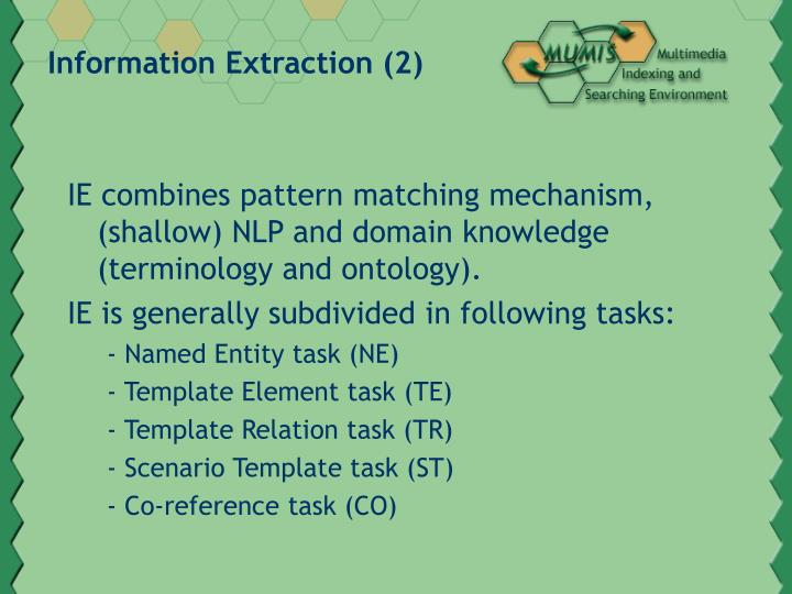 Information extraction 2
