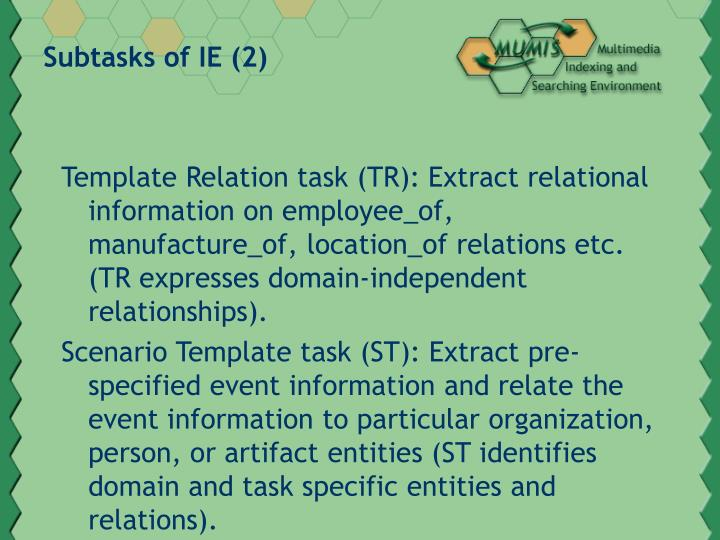 Subtasks of IE (2)