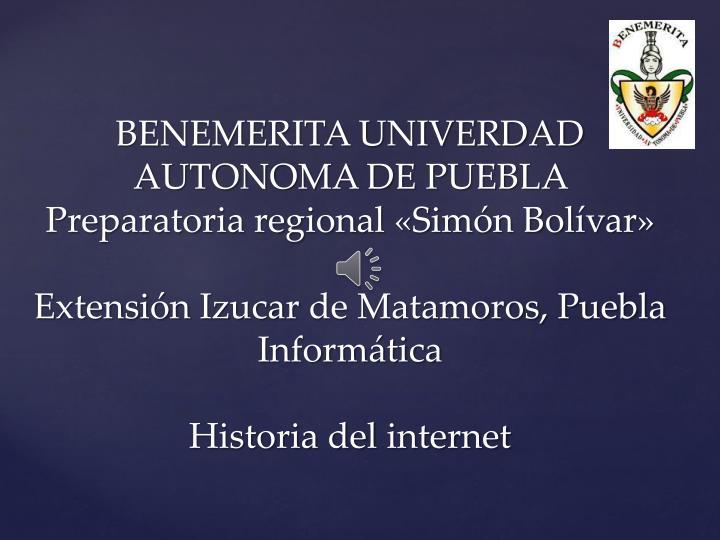 BENEMERITA UNIVERDAD AUTONOMA DE PUEBLA