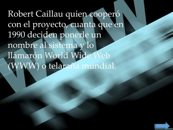 Robert Caillau quien cooperó con el proyecto, cuanta que en 1990 deciden ponerle un nombre al sistema y lo llamarón World Wide Web (WWW) o telaraña mundial.