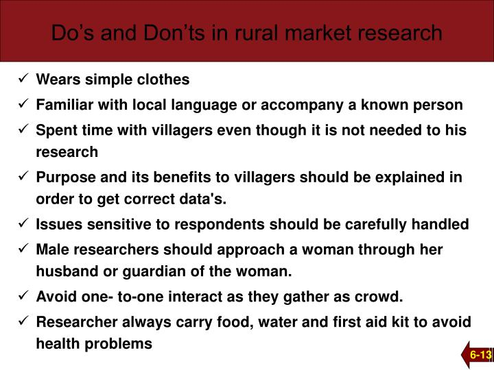 Do's and Don'ts in rural market research