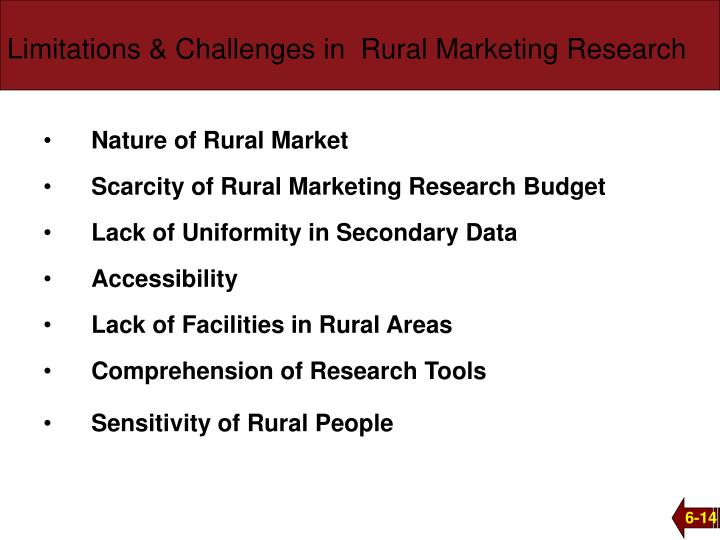 Limitations & Challenges in  Rural Marketing Research