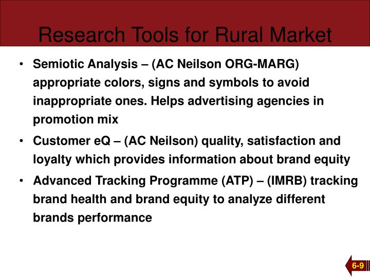 Research Tools for Rural Market