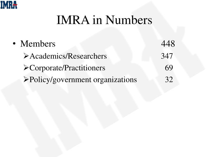 IMRA in Numbers