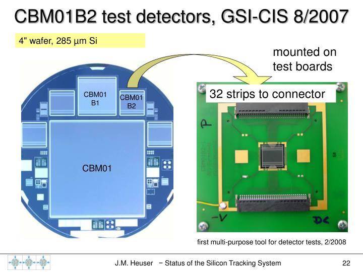 CBM01B2 test detectors, GSI-CIS 8/2007