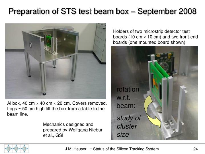 Preparation of STS test beam box – September 2008