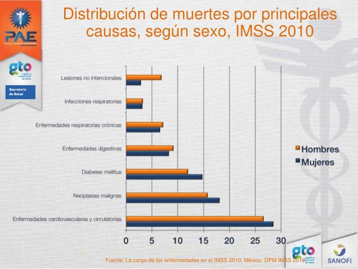 Distribución de muertes por principales causas, según sexo, IMSS 2010