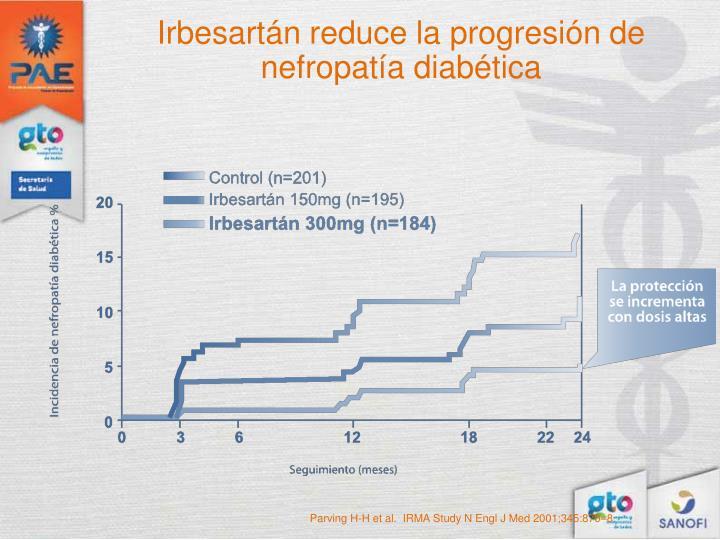 Irbesartán reduce la progresión de nefropatía diabética