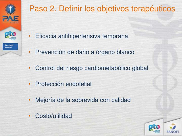 Paso 2. Definir los objetivos terapéuticos