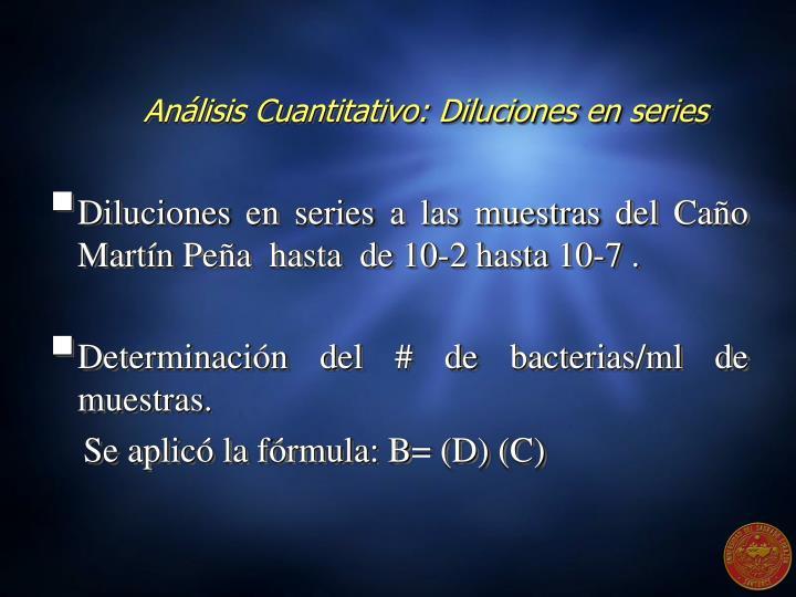 Análisis Cuantitativo: Diluciones en series