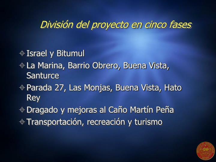 División del proyecto en cinco fases
