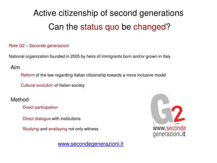 Active citizenship of second