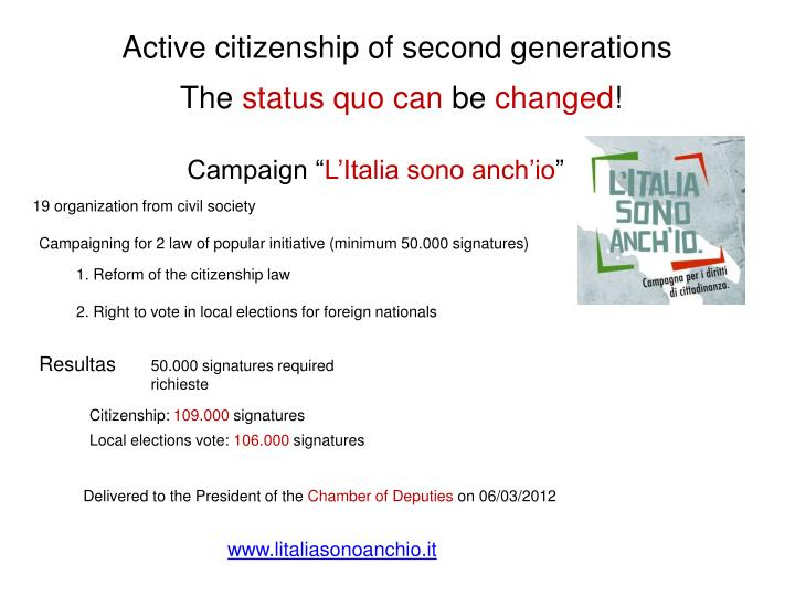 Active citizenship of second generations