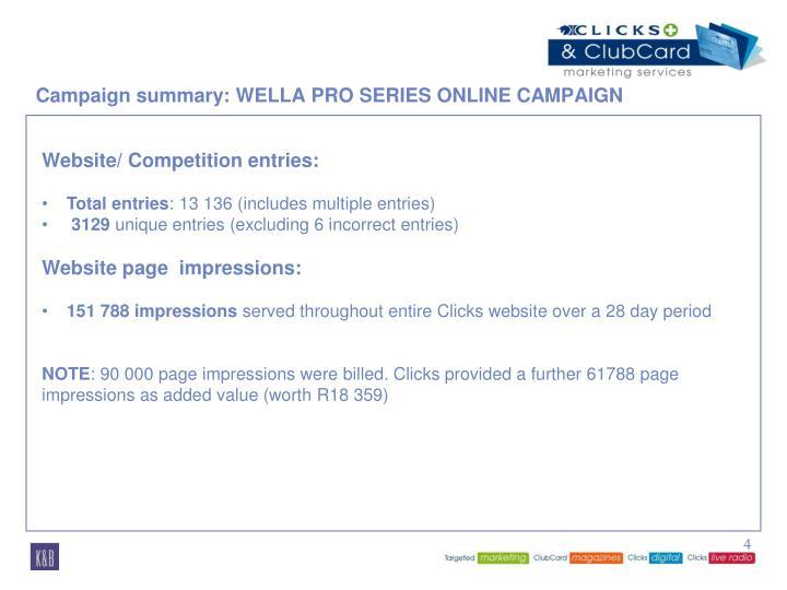 Campaign summary: WELLA PRO SERIES ONLINE CAMPAIGN