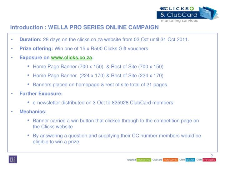 Introduction wella pro series online campaign