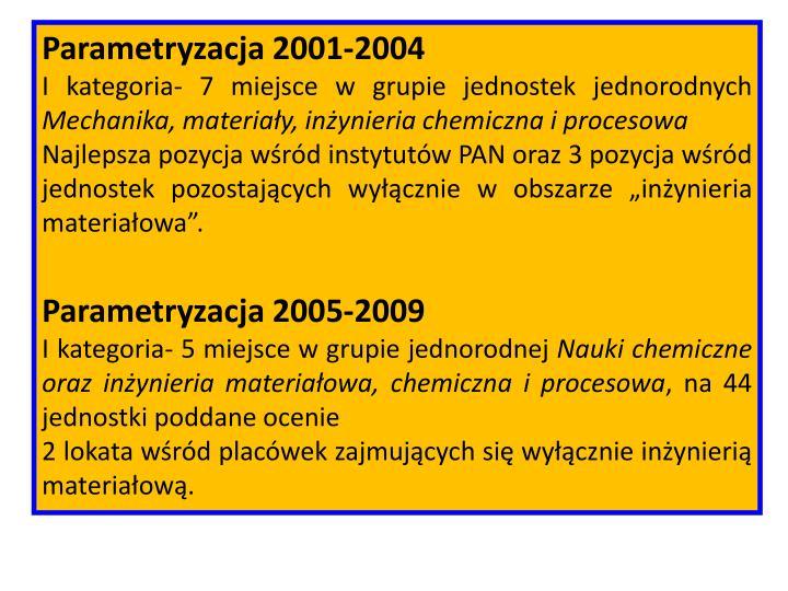Parametryzacja 2001-2004