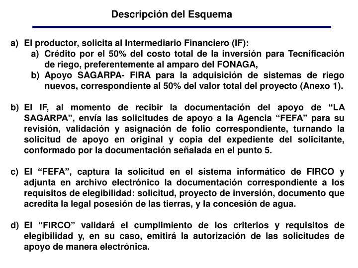 El productor, solicita al Intermediario Financiero (IF):