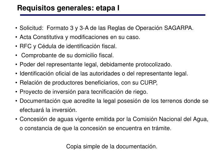Requisitos generales: etapa I