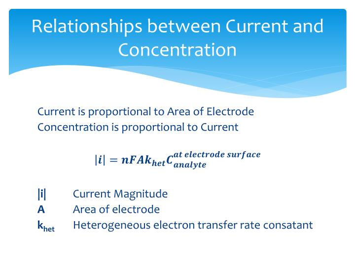 Relationships between Current and Concentration