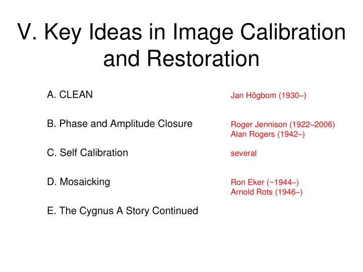 V. Key Ideas in Image Calibration and Restoration