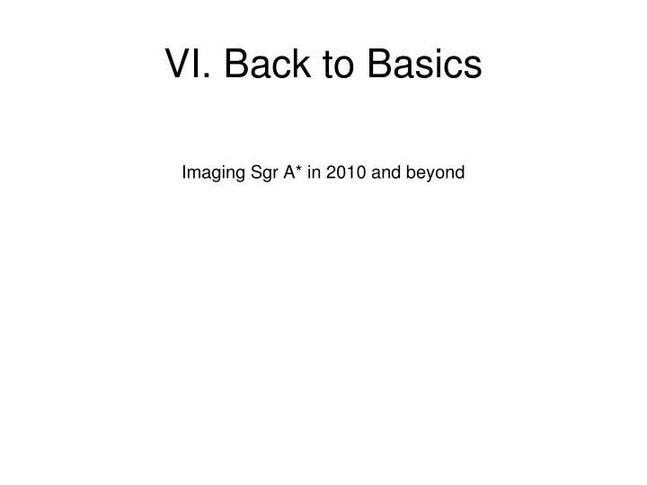 VI. Back to Basics