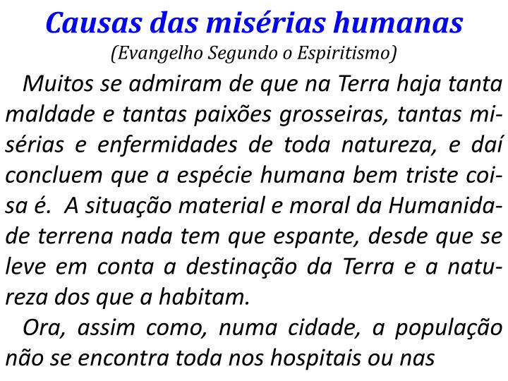 Causas das misrias humanas