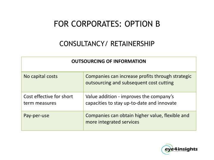 FOR CORPORATES: OPTION B