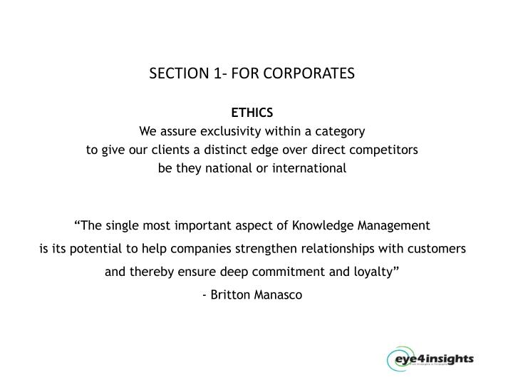SECTION 1- FOR CORPORATES