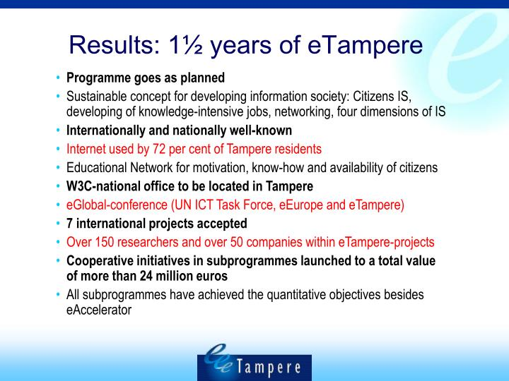 Results: 1½ years of eTampere