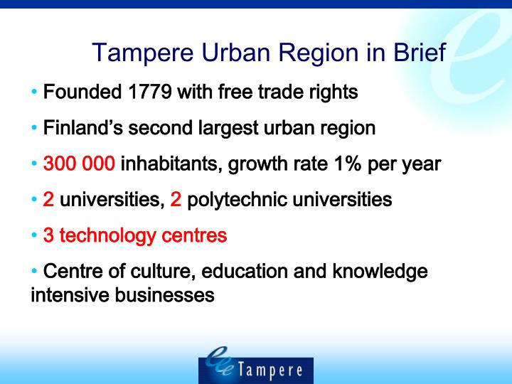 Tampere Urban Region in Brief
