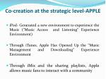 co creation at the strategic level apple