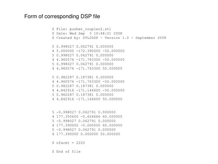 Form of corresponding DSP file