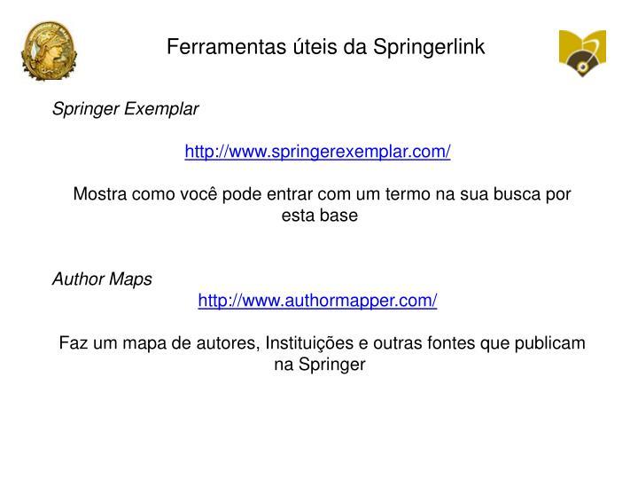 Ferramentas úteis da Springerlink