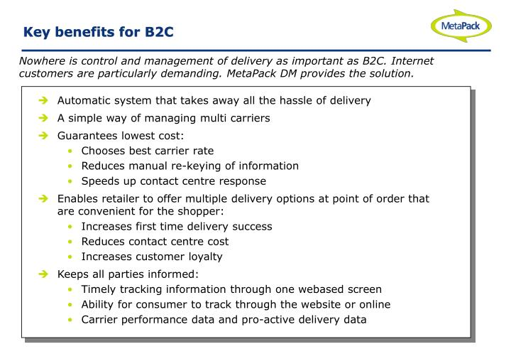 Key benefits for B2C
