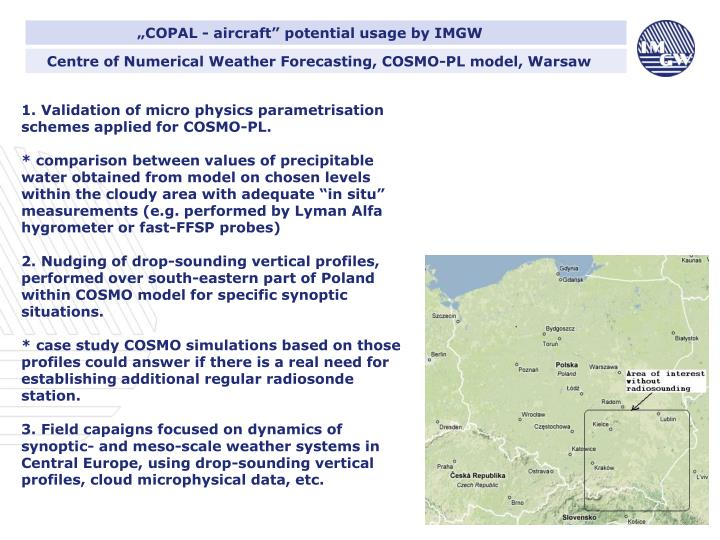 """COPAL - aircraft"" potential usage by IMGW"