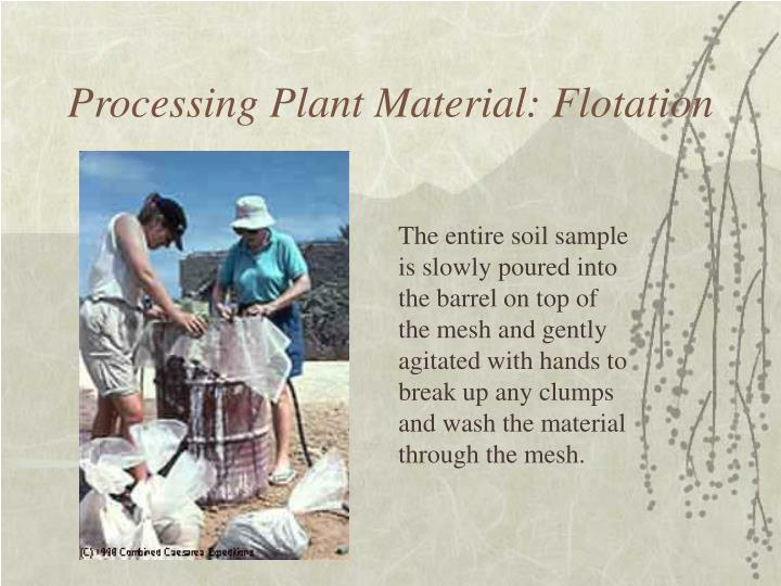 Processing plant material flotation