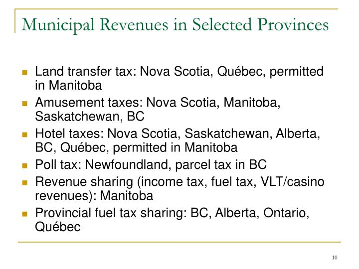 Municipal Revenues in Selected Provinces