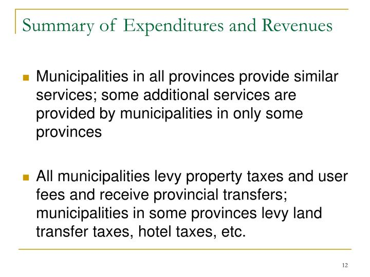 Summary of Expenditures and Revenues