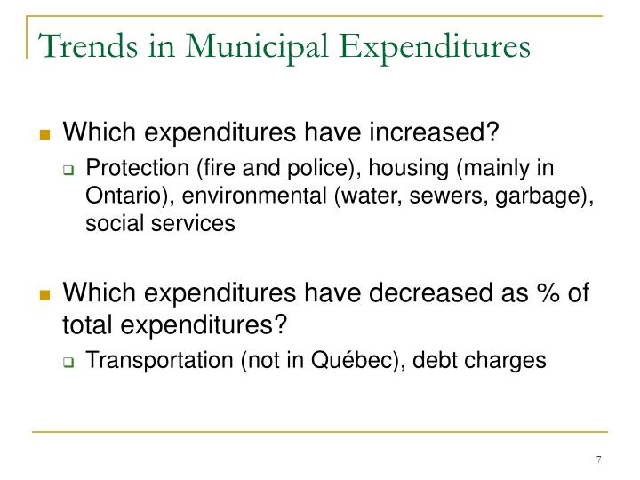 Trends in Municipal Expenditures