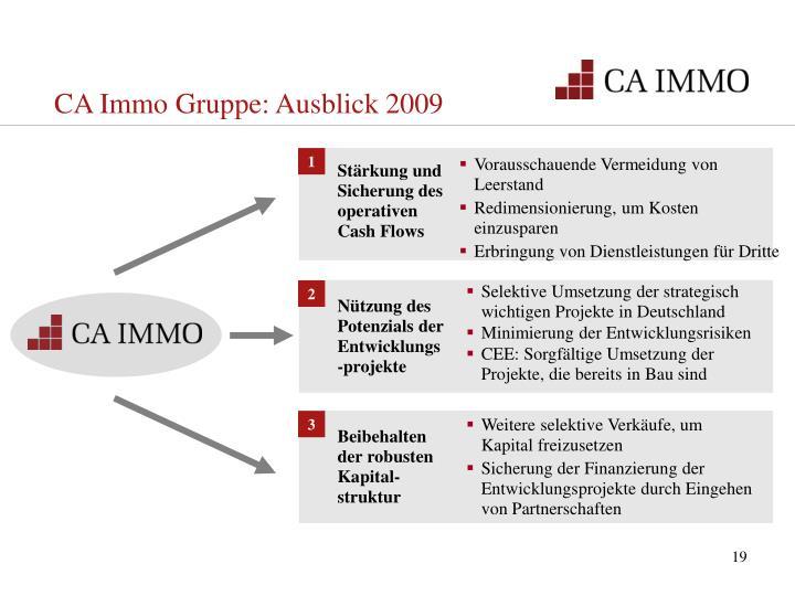 CA Immo Gruppe: Ausblick 2009