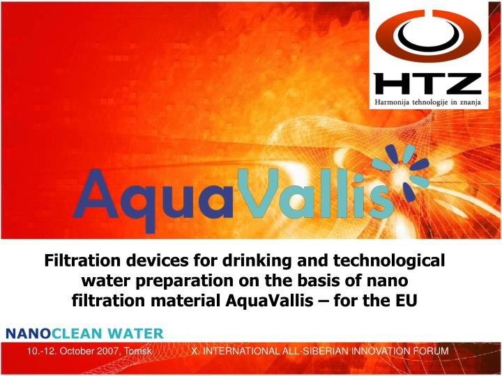 Filtration devices for drinking and technological water preparation on the basis of nano filtration ...